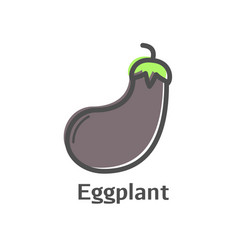 Eggplant thin line icon isolated aubergine vector
