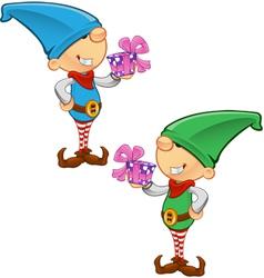 Elf Mascot Holding A Present vector image