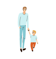 Father and son walk hand in hand vector