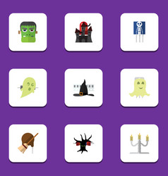 flat icon festival set of terrible halloween vector image