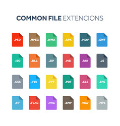 Flat style icon set systemcommon file type vector