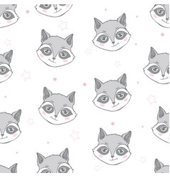 flat style seamless pattern with raccoon isolated vector image