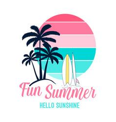 fun summer slogan and hand drawing summer icons vector image