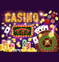 Gambling games and casino roulette and poker vector