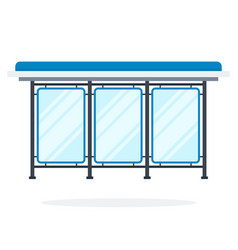 glass bus stop flat material design isolated vector image