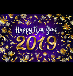 gold snow 2019 happy new year on the snowflakes vector image