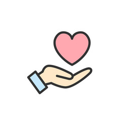 Hand holds heart care kindness charity vector