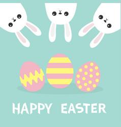 Happy easter three bunny rabbit hanging upside vector