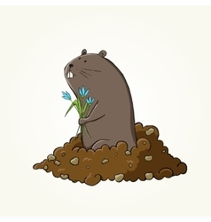 Happy Groundhog Day design with cute groundhog vector