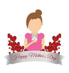 happy mothers day card celebrate party vector image