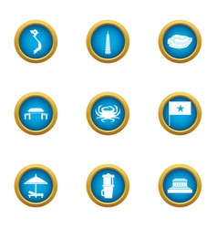 Holiday viet icons set flat style vector