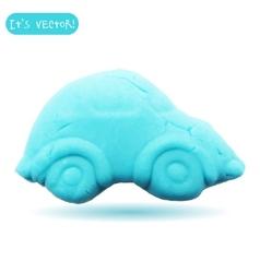Icon of plasticine car vector