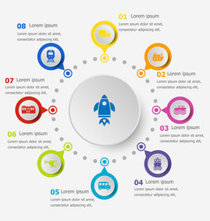 Infographic template with vehicle icons vector