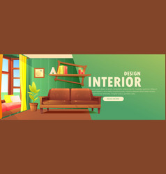 Interior design banner retro living room vector