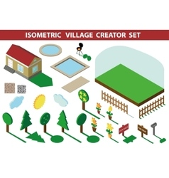 Isometric house3D Village Landscape creator kit vector
