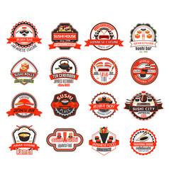 japanese sushi badge of asian cuisine restaurant vector image vector image