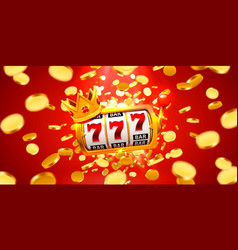 King slots 777 banner casino on red banner vector