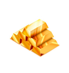 large heap realistic glossy golden bars in vector image