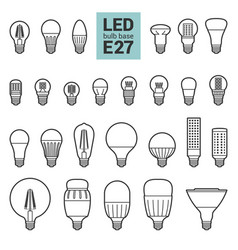 Led light e27 bulbs outline icon set vector