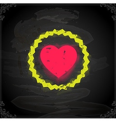 Love heart icon on chalkboard vector