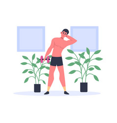 Man exercising with dumbbells keeping fit at home vector