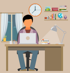 Man is working with laptop flat modern of working vector
