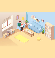 Man on chair with kid doing remote work vector
