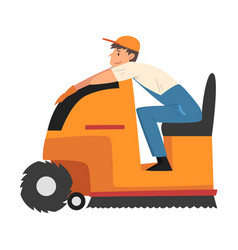 man using cleaning machine for washing and vector image