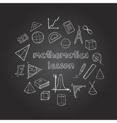 Mathematics Hand Drawn Icons Set vector