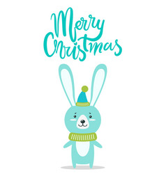 merry christmas rabbit title vector image