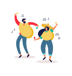 mexican man and woman friends dancing at party vector image
