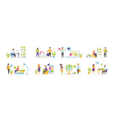online education set with people characters vector image