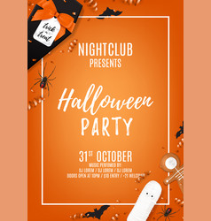 orange halloween party flyer template vector image