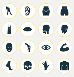 Part icons set with breath hand gesture foot vector