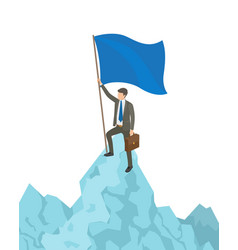 Person with flag on mountain vector
