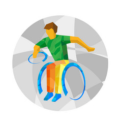 Physically disabled rugby player flat sport icon vector