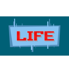 Pixel life text on blue background vector