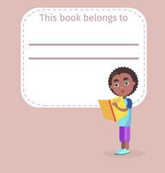 Place for book owner name and african boy on cover vector