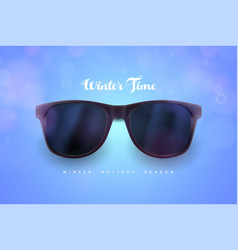 realistic sunglasses on blue background vacations vector image