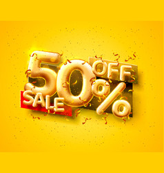 Sale 50 off ballon number on yellow background vector