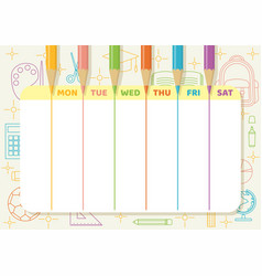 school timetable color pencil drawing lines vector image