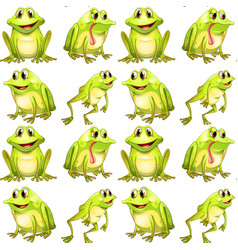 Seamless pattern tile cartoon with frogs vector