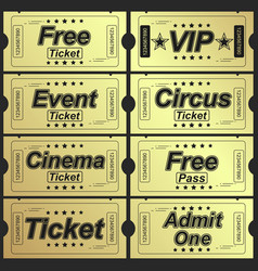 Set eleven golden tickets and coupons vector