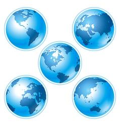 set five globes vector image