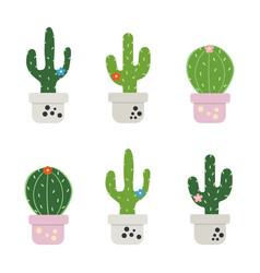 set funny cactus vector image
