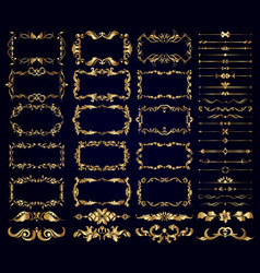 Set gold decorative borders frames dividers on vector