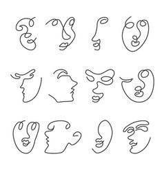 set human faces vector image