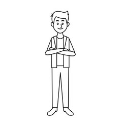 Smiling man in casual clothes folded arms standing vector