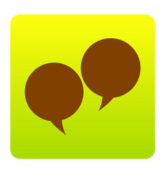 speech bubble sign brown icon at green vector image