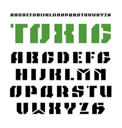 Stencil-plate sanserif font in military style vector